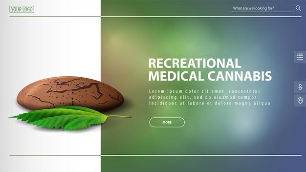 Cannabis medica ricreativa, banner sconto per sito web con biscotti alla cannabis con foglia di cannabis