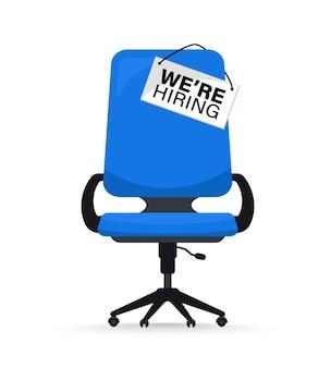 Reclutamento o assunzione, posto vacante aperto. concetto di assunzione e reclutamento di affari. stiamo assumendo. posizione vacante con sedia da ufficio vuota con posto vacante con un cartello che abbiamo bisogno di te. illustrazione vettoriale di sedia da ufficio