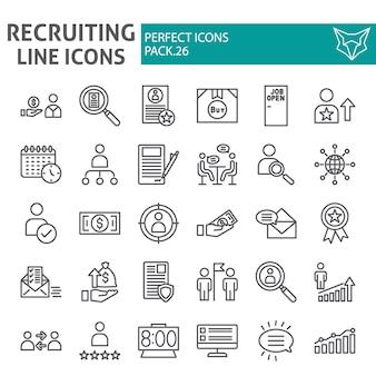 Insieme dell'icona di linea di reclutamento, raccolta di occupazione