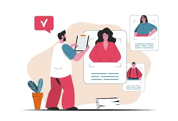 Agenzia di reclutamento concetto isolato. ricerca curriculum candidato, risorse umane. scena di persone nel design piatto del fumetto. illustrazione vettoriale per blog, sito web, app mobile, materiale promozionale.
