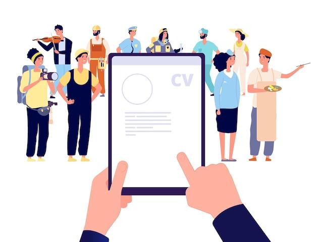 Agenzia di reclutamento. recluta dipendenti, il capo assume lavoratori professionisti