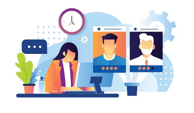 Il dipendente del processo di valutazione del reclutamento trova i migliori candidati