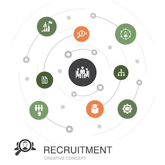 Concetto di cerchio colorato di reclutamento con icone semplici. contiene elementi come carriera, impiego, posizione, esperienza