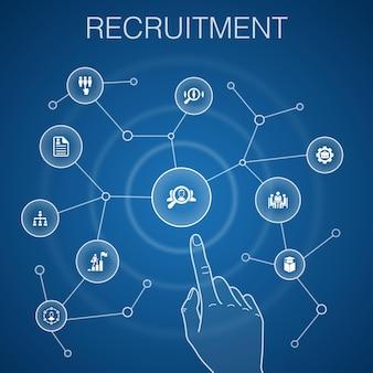 Concetto di reclutamento, sfondo blu.carriera, occupazione, posizione, icone di esperienza