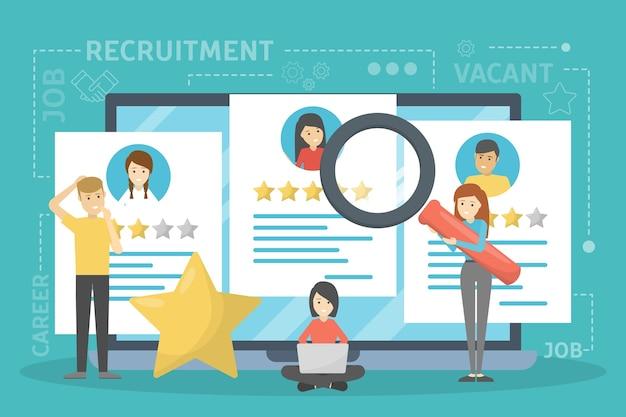 Concetto di reclutamento. idea lavorativa e umana