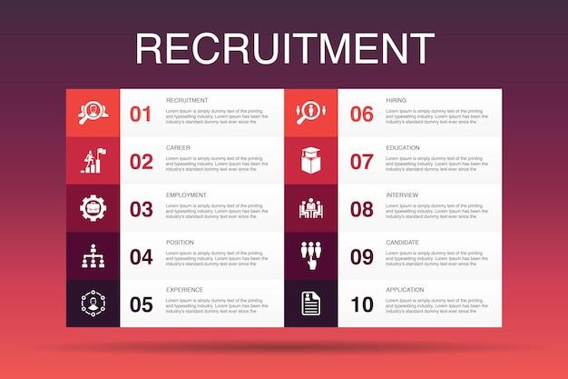 Reclutamento infografica 10 opzione modello.carriera, impiego, posizione, esperienza semplici icone