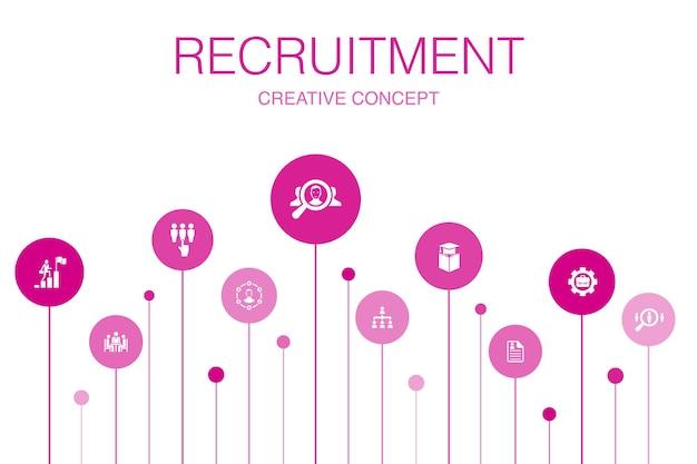 Reclutamento infografica 10 passaggi design del cerchio. carriera, occupazione, posizione, esperienza semplici icone