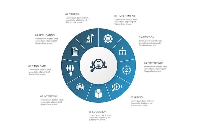 Reclutamento infografica 10 passi cerchio design