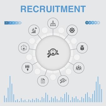 Infografica di reclutamento con icone. contiene icone come carriera, impiego, posizione, esperienza
