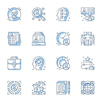 Assunzione, set di icone lineari colloquio di lavoro.