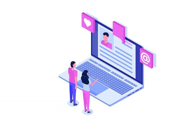 Assunzione, concetto isometrico di ricerca di lavoro. utilizzare per presentazioni, social media, carte, banner web. illustrazione