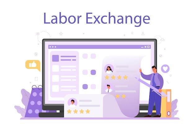 Servizio o piattaforma online di reclutamento. idea di impiego e colloquio di lavoro.