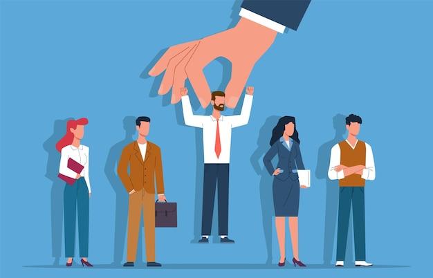 Reclutamento. candidato selezionato da uomini d'affari del gruppo, la mano dei datori di lavoro sceglie la persona, la scelta della carriera futura, l'assunzione delle risorse umane dei lavoratori, il processo di scelta e il concetto piatto di vettore della concorrenza
