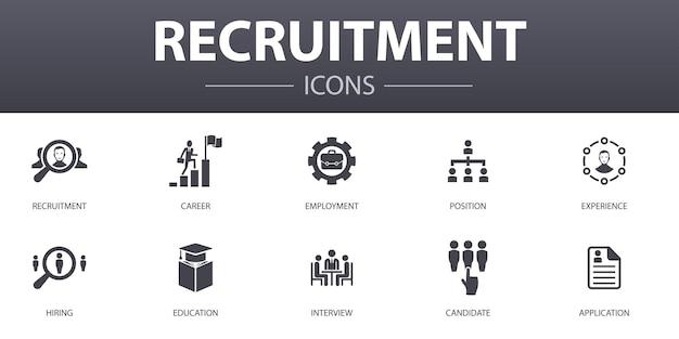 Set di icone di concetto semplice di reclutamento. contiene icone come carriera, impiego, posizione, esperienza e altro, può essere utilizzato per web, logo, ui/ux
