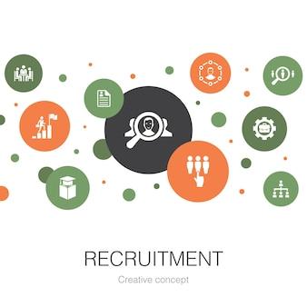 Modello di cerchio alla moda di reclutamento con icone semplici