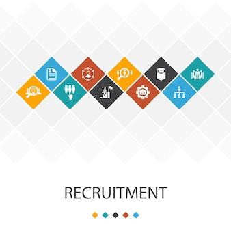 Concetto di infografica modello di interfaccia utente alla moda di reclutamento. icone di carriera, occupazione, posizione, esperienza