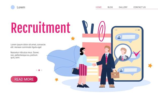 Banner web di reclutamento con illustrazione vettoriale piatta datore di lavoro e nuovo dipendente