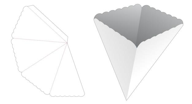 Modello fustellato per contenitore per snack a forma di pilone rectaguler