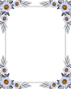 Cornice rettangolare con fiore bianco e bordo grigio per auguri e partecipazioni di nozze