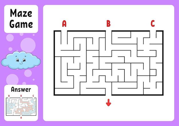 Labirinto di rettangolo. gioco per bambini. tre ingressi, un'uscita. puzzle per bambini. enigma del labirinto.