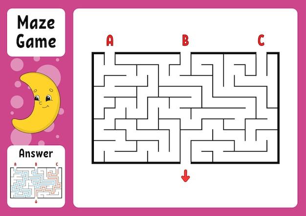 Labirinto di rettangolo. gioco per bambini. tre ingressi, un'uscita.