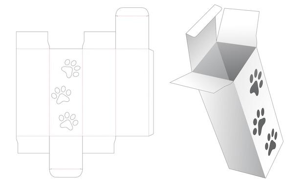Scatola rettangolare con sagoma fustellata per finestra a forma di stampa di piedi di cane
