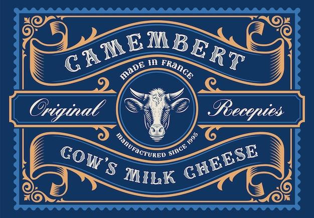 Un modello di confezione di formaggio rettangolare in stile vintage, tutti gli elementi sono nel gruppo separato e modificabili.