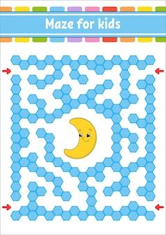Labirinto rettangolare di colore. mezzaluna carina. gioco per bambini. labirinto divertente. foglio di lavoro per lo sviluppo dell'istruzione. pagina delle attività.