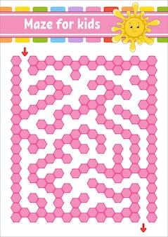 Labirinto rettangolare di colore. sole carino. gioco per bambini. labirinto divertente. foglio di lavoro per lo sviluppo dell'istruzione. pagina delle attività.