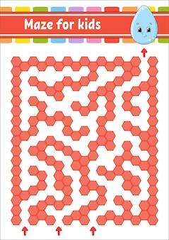 Labirinto rettangolare di colore. gioco per bambini. goccia carina. labirinto divertente. foglio di lavoro per lo sviluppo dell'istruzione. pagina delle attività.