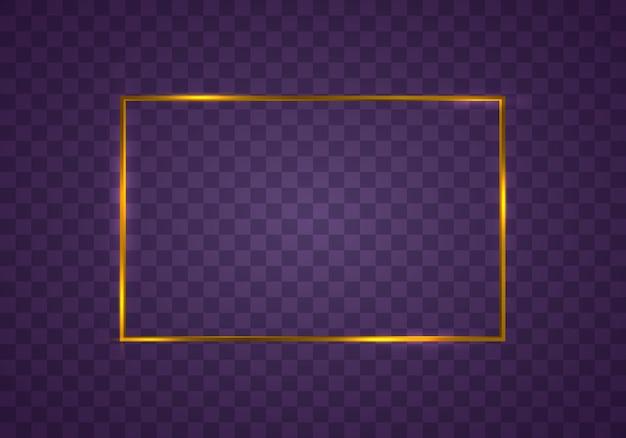 Cornice rettangolare in oro con effetti di luce bordo rettangolare realistico di lusso dorato vintage incandescente