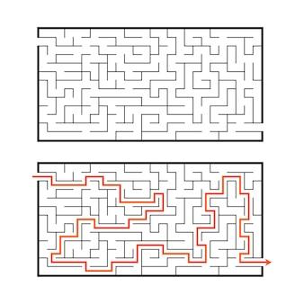 Foglio di lavoro labirinto rettangolare per bambini