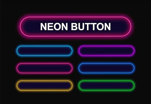 Pulsanti al neon rettangolari con angoli arrotondati per il web design.