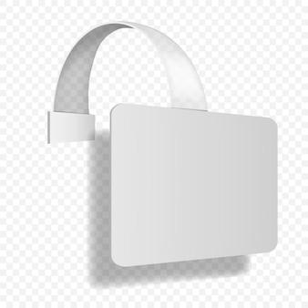 Mensola rettangolare wobbler su sfondo trasparente vettore mockup rettangolo bianco bianco penzolante