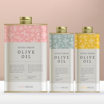 Confezione rettangolare in scatola di latta o bottiglia per prodotti a base di olio d'oliva con motivo floreale minimale