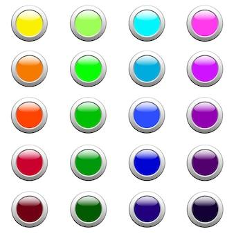 Pulsanti web rettangolari, illustrazione vettoriale di vari colori
