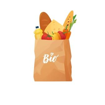 Shopping bag in carta ecologica riciclabile con cibo pane carota formaggio succo