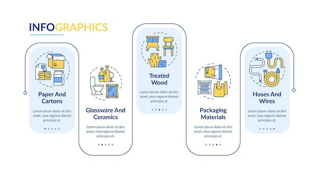 Modello di infografica vettoriale di immondizia riciclabile. elementi di design del profilo di presentazione dei tipi di rifiuti accettati. visualizzazione dei dati con 5 passaggi. grafico delle informazioni sulla sequenza temporale del processo. layout del flusso di lavoro con icone di linea