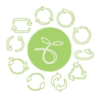 Riciclare le icone verdi disegnate a mano impostate. riutilizzare i simboli