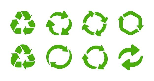 Riciclare l'insieme dell'icona del simbolo del cerchio di riciclaggio di colore verde