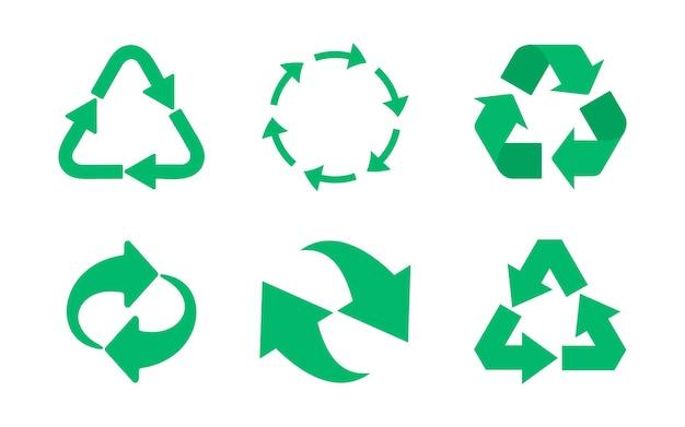 Riciclare il set di icone. icona di eco riciclato. insieme dell'icona delle frecce del ciclo riciclato