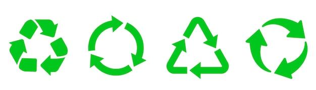Riciclare il set di icone. riciclaggio del colore verde. stile piatto