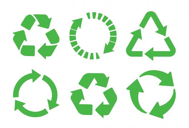 Ricicli il set di icone. riciclaggio del colore verde.