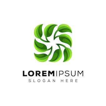 Ricicli il logo della foglia, il logo verde della foglia, modello di vettore di logo della foglia fresca