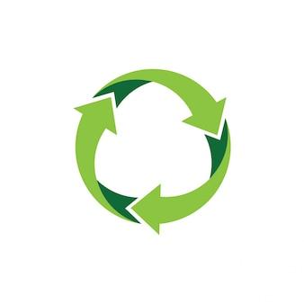Riciclare logo o icona disegno vettoriale Vettore Premium