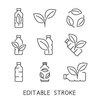 Riciclare la bottiglia di plastica icona biodegradabile produzione di materiale compostabile ecologico rifiuti zero