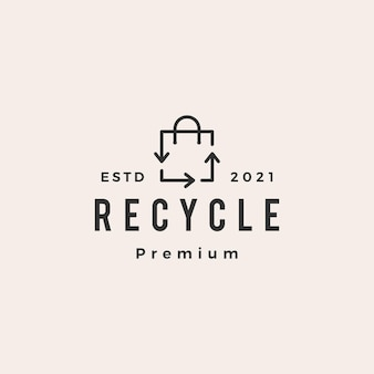 Riciclare il logo vintage hipster shopping bag