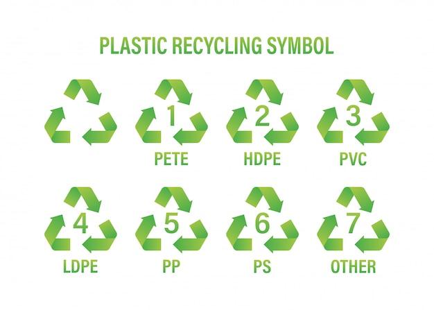 Ricicli il simbolo riciclaggio della plastica, ottimo per qualsiasi scopo. ricicli il simbolo del riciclaggio. illustrazione.