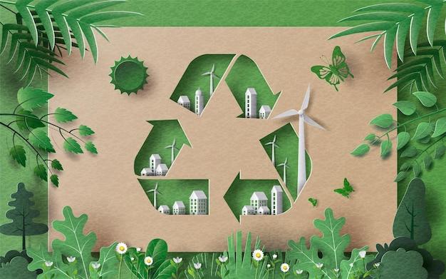 Riciclare il simbolo con molti edifici e foglie verdi salvare il pianeta e l'illustrazione della carta del concetto di energia