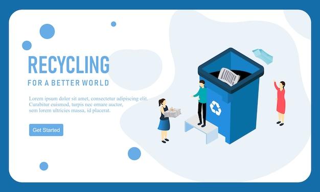 Ricicli il modello di progettazione della pagina di destinazione del sito web di vettore di rifiuti